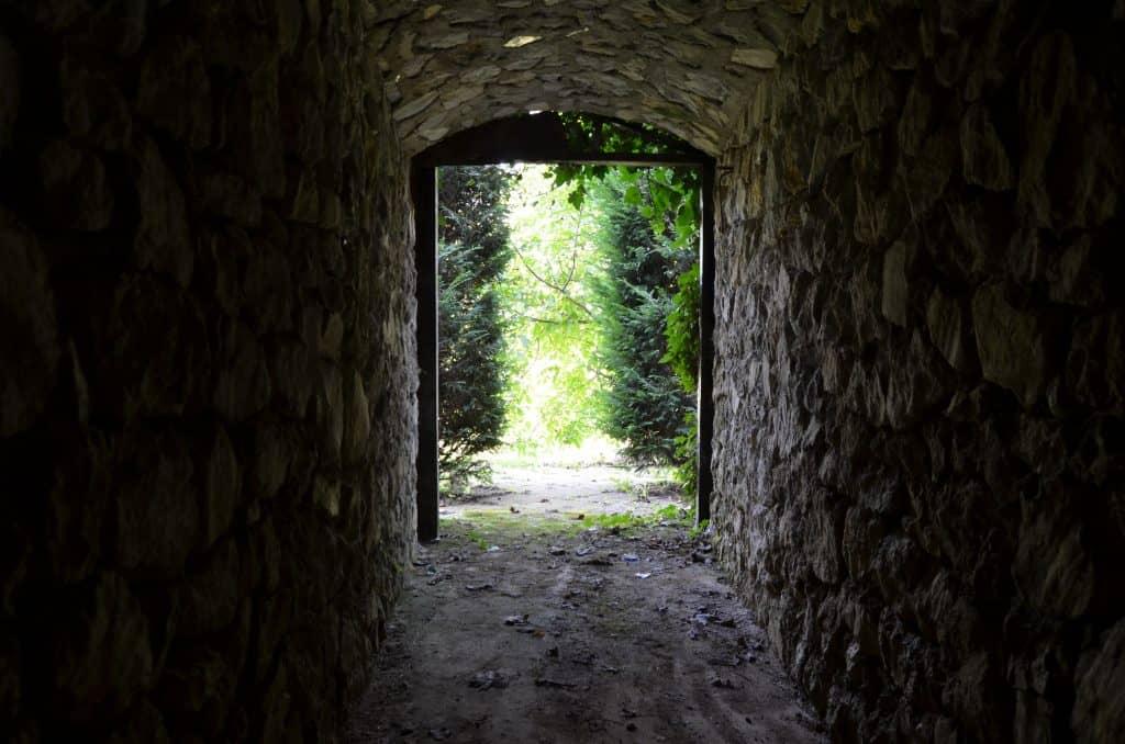 Pogled iz notranjosti kleti na vhod
